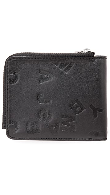 Marc by Marc Jacobs Scrambled Logo Embossed Zip Wallet