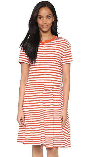 Shop Marc by Marc Jacobs online and buy Marc By Marc Jacobs Sketch Stripe T-Shirt Dress Brick Orange Multi online store
