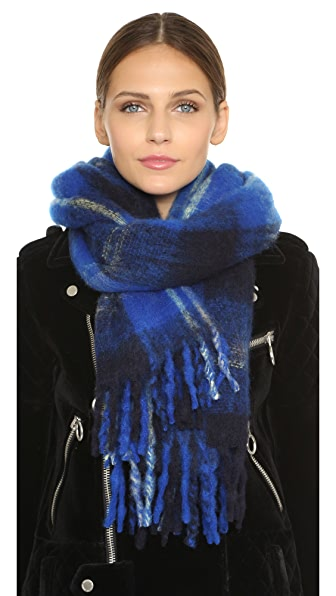 Marc By Marc Jacobs Blanket Plaid Scarf - True Blue Multi