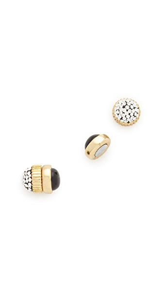 Marc by Marc Jacobs Pave Cabochon Magnetic Stud Earrings In Black Multi
