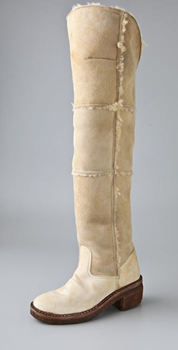 Maison Margiela Replica Over the Knee Shearling Boots
