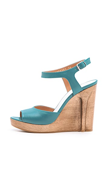 Maison Margiela Strappy Wedged Sandals with Heel Illusion
