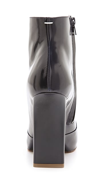 Maison Margiela Leather Booties with Chunky Heel