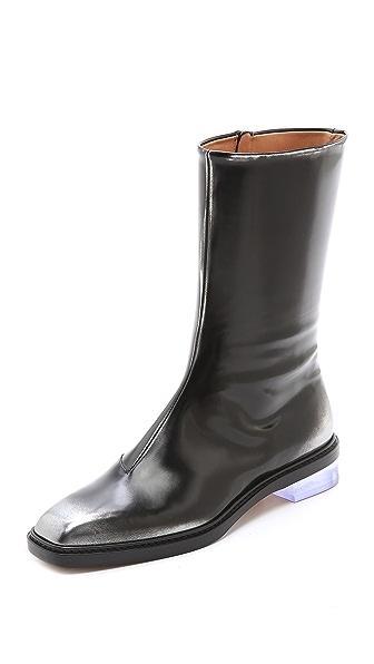 Maison Margiela Leather Brushed Effect Boots