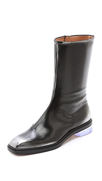 Maison Margiela Leather Brushed Effect Boots