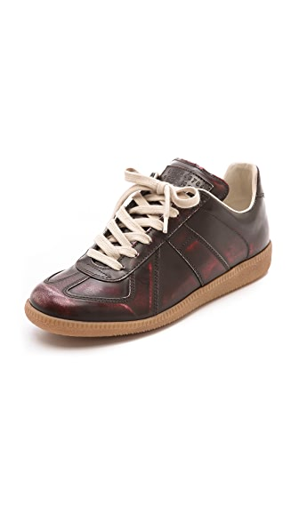 Maison Margiela Leather Brushed Effect Sneakers