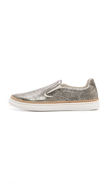 Maison Margiela Leather Slip On Sneakers