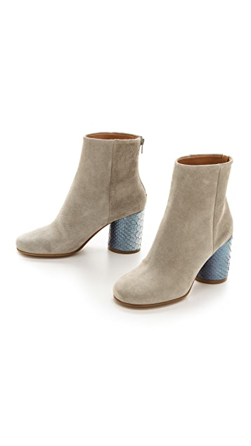 Maison Margiela Suede & Python Leather Booties