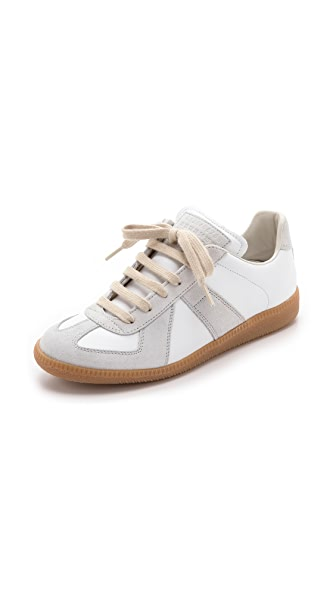 Maison Margiela Leather & Suede Sneakers - Off White