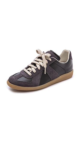 Maison Margiela Leather & Suede Sneakers In Black