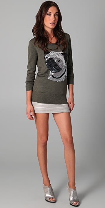 Markus Lupfer Sequined Pug Sweater
