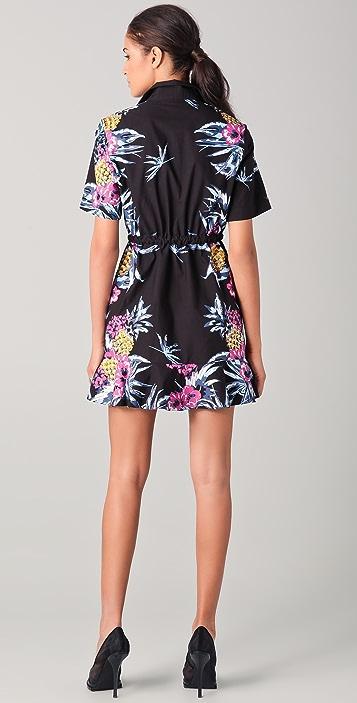 Markus Lupfer Hawaiian Print Frill Shirtdress
