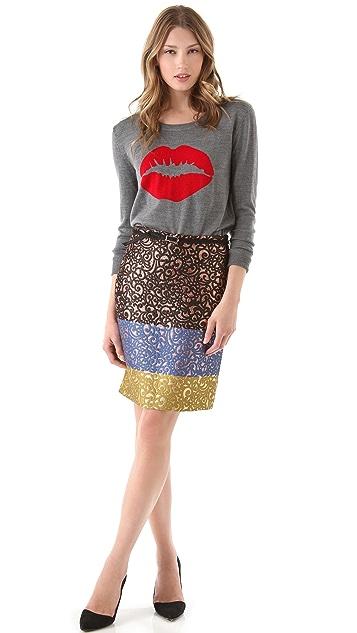 Markus Lupfer Intarsia Smacker Lip Sweater
