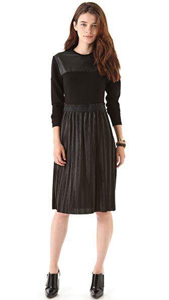 Markus Lupfer Leather Look Pleated Dress