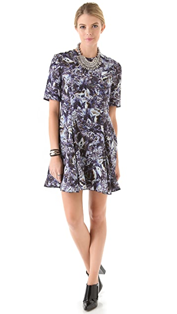 Markus Lupfer Silk Oil Print Flare Dress