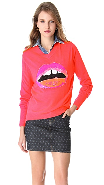 Markus Lupfer Sequin Lip Sweater