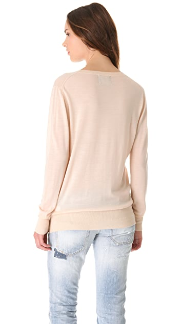 Markus Lupfer Nude Sequin Lip Sweater