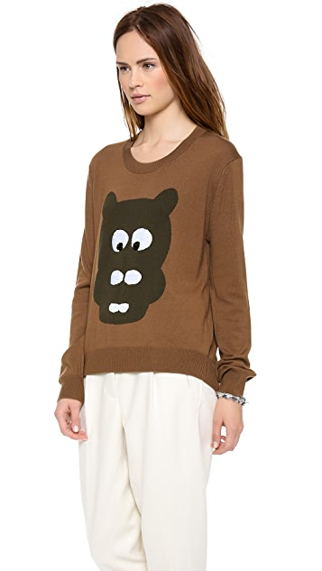 Markus Lupfer Hippo Head Sequin Intarsia Sweater