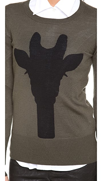 Markus Lupfer Giraffe Silhouette Intarsia Sweater