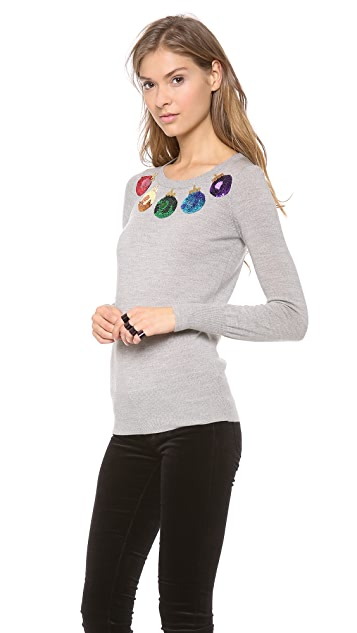 Markus Lupfer Christmas Baubles Sequin Sweater