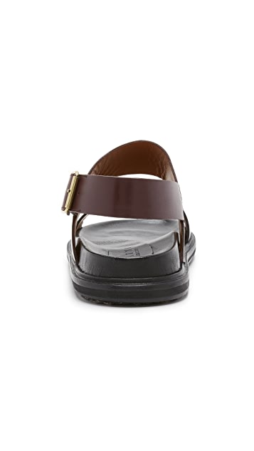 Marni Leather Double Strap Sandals