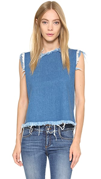Marques Almeida Open Denim Crop Top