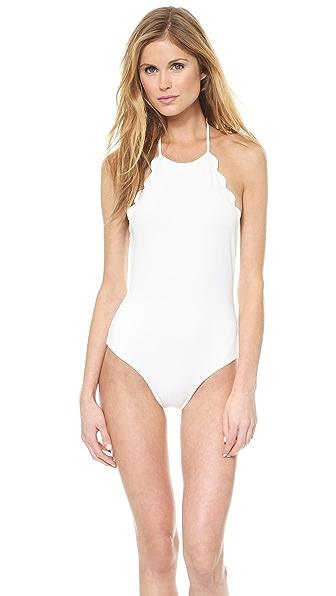 Marysia Swim Halter Low Back Scallop Bathing Suit