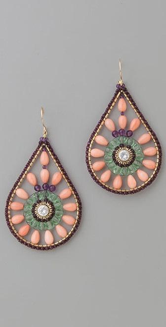Miguel Ases Coral Teardrop Earrings