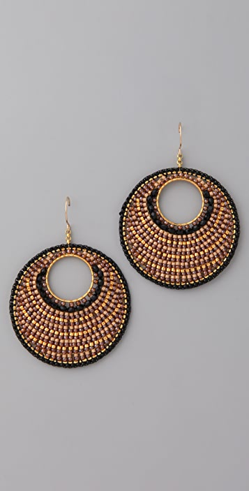 Miguel Ases Jet Quartz Crystal Circle Earrings