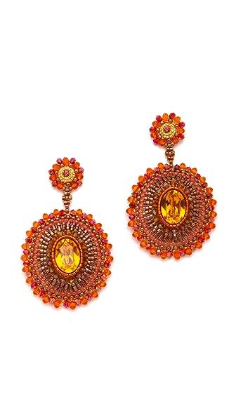 Miguel Ases Fire Opal & Quartz Pendent Earrings