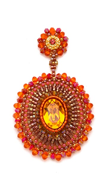 Miguel Ases Fire Opal & Quartz Pendent Earrings