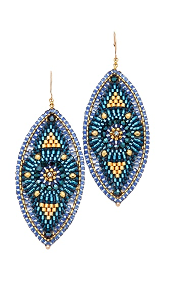Miguel Ases Beaded Oval Drop Earrings