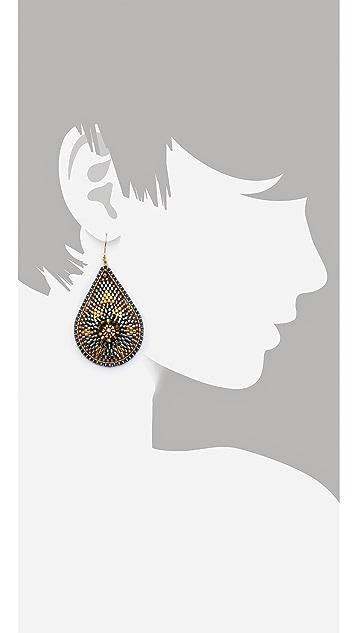 Miguel Ases Metallic Teardrop Earrings
