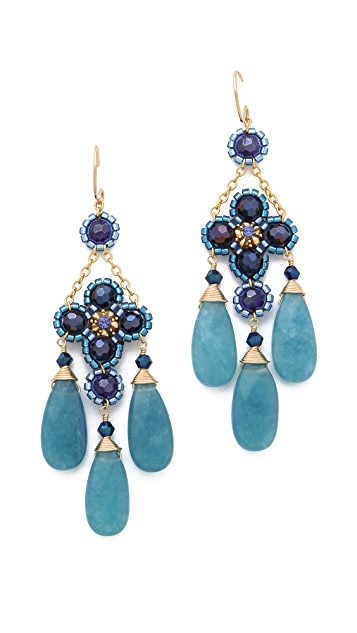 Miguel Ases Blue Quartz Chandelier Earrings