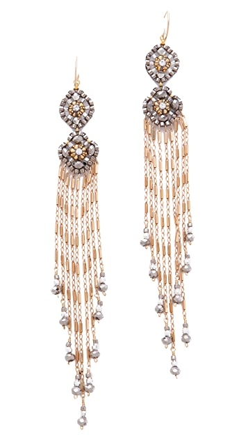 Miguel Ases Gold & Pyrite Fringe Earrings