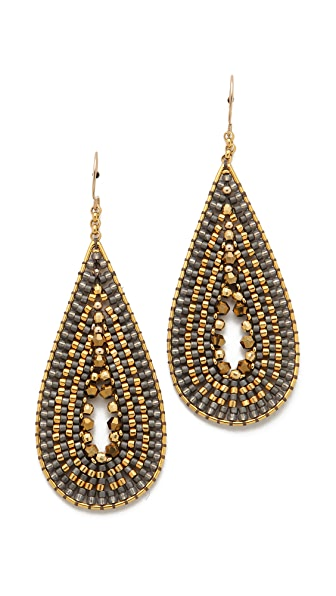 Miguel Ases Metallic Beaded Teardrop Earrings