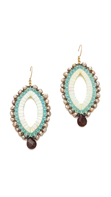 Miguel Ases Beaded V Earrings