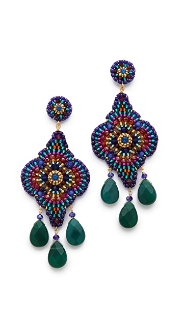 Miguel Ases Triple Gem Drop Earrings