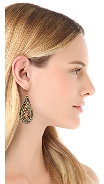 Miguel Ases Open Center Beaded Earrings