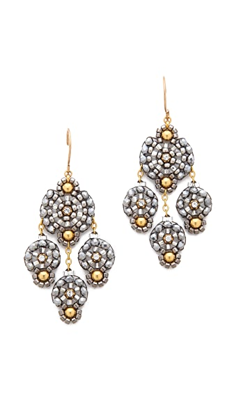 Miguel Ases Triple Drop Beaded Earrings