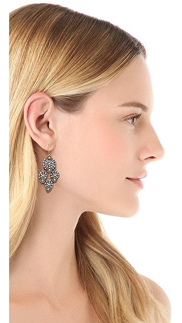 Miguel Ases Triple Drop Beaded Earrings
