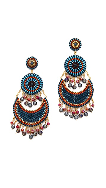 Miguel Ases Beaded Tier Earrings
