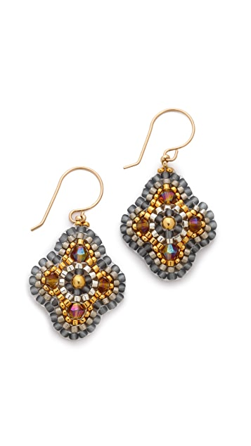 Miguel Ases Beaded Clover Earrings