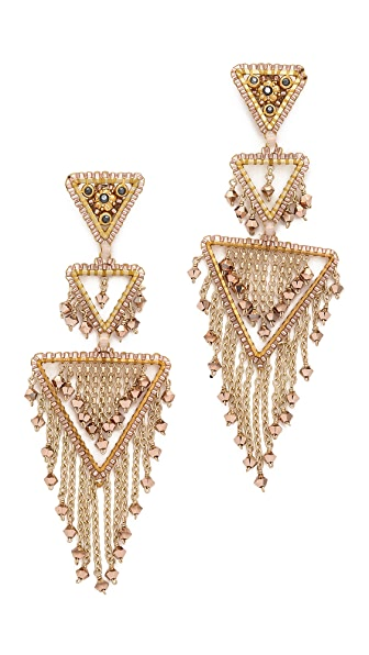 Miguel Ases Triangle Statement Chandelier Earrings