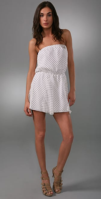 Mason by Michelle Mason Polka Dot Strapless Dress