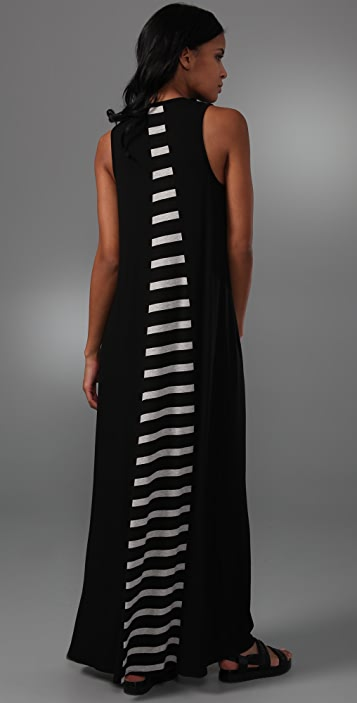 Michelle Mason Long Dress with Striped Inset