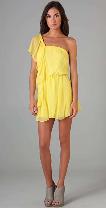 Michelle Mason Asymmetrical Ruffle Dress