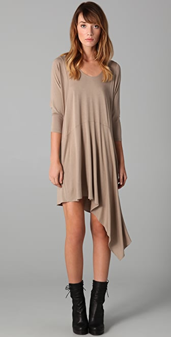 Michelle Mason Long Sleeve Dress with Asymmetrical Hem