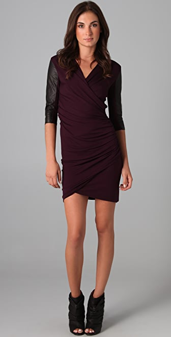 Mason by Michelle Mason Gathered Dress with Leather Sleeves