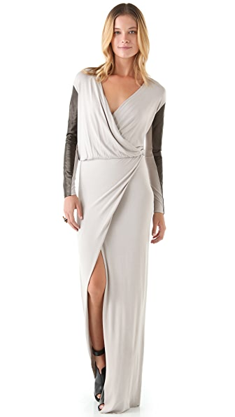 Michelle Mason Leather Sleeve Gown